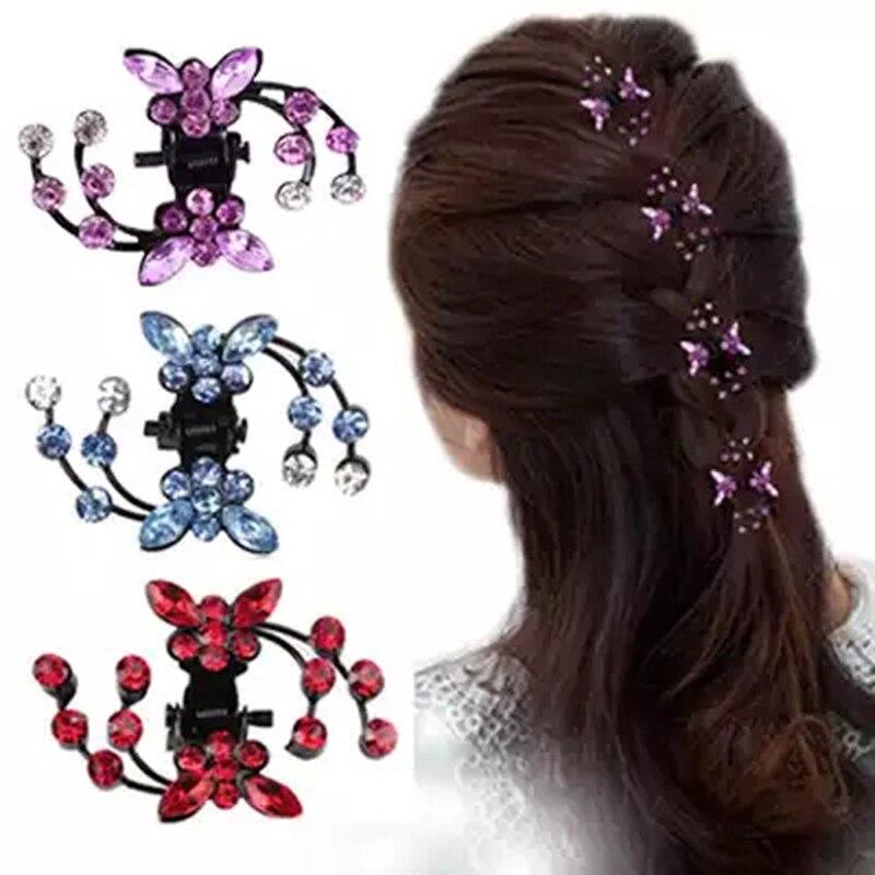Women Rhinestone Crab Hair Claw Clip Girls Kids Butterfly  Wedding Hair Clamp Mini Hairpins Glitter Crystal Hair Accessories