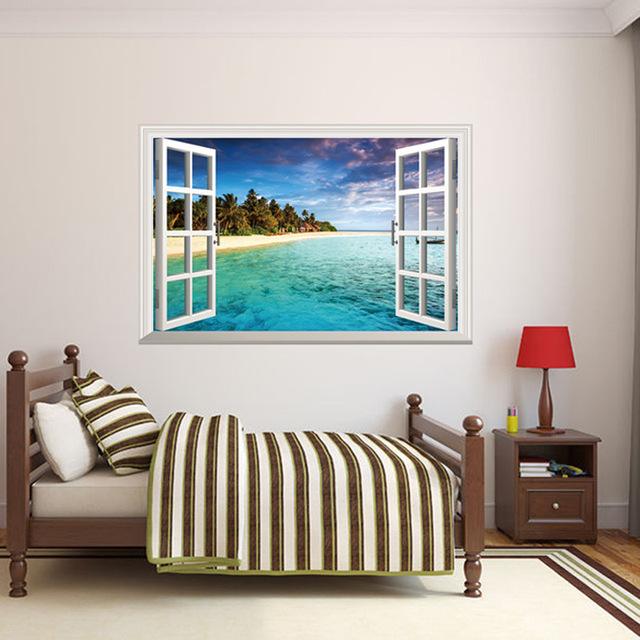 Removable Seascape Fake Window Wall Stickers Sunshine Beach Stikers Home Decal Living Room Decoration Party