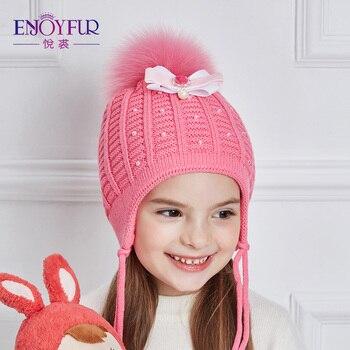 ENJOYFUR Girls Hats For Winter Autumn Thick Warm Children Caps Rhinestones Beanies Kids Hat Good Quality