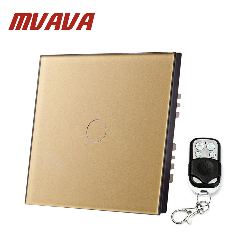 MVAVA 1 Gang 1 Way EU Standard Remote Switch 220~250V Wall Light Remote Control Touch Switch Golden Panel Led Wall Touch Switch mvava eu standard 3 gang 1 way remote control light switch golden crystal glass panel touch switch wall switch for smart home