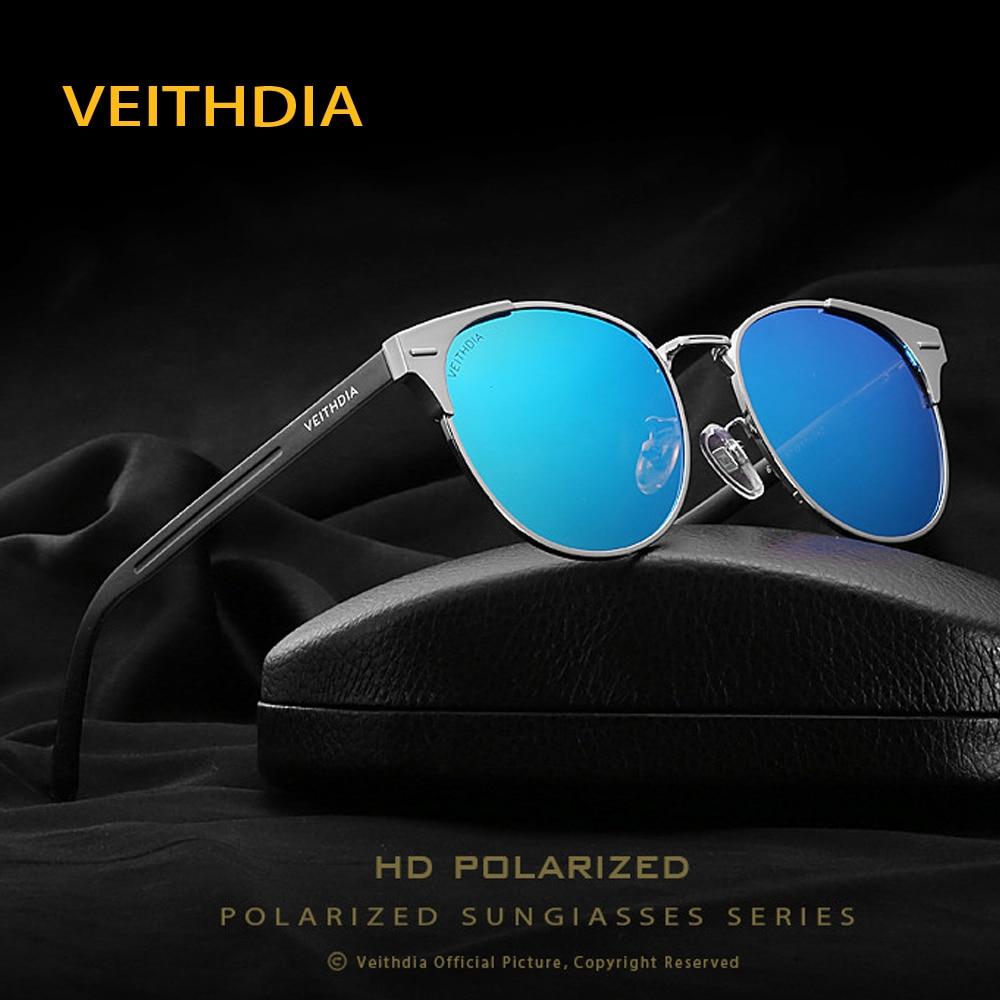 Veithdia 2018 جديد للجنسين ريترو الألومنيوم ماركة القط العين النظارات المستقطبة عدسة خمر الاكسسوارات نظارات الشمس للرجال النساء