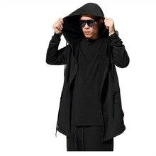 цена на Autumn Men Hoodies Coat Black Men Trench Coat Loose Plus Size Long Cloak Man Outwear Wizard's Cape Hooded Jacket Winter Coat