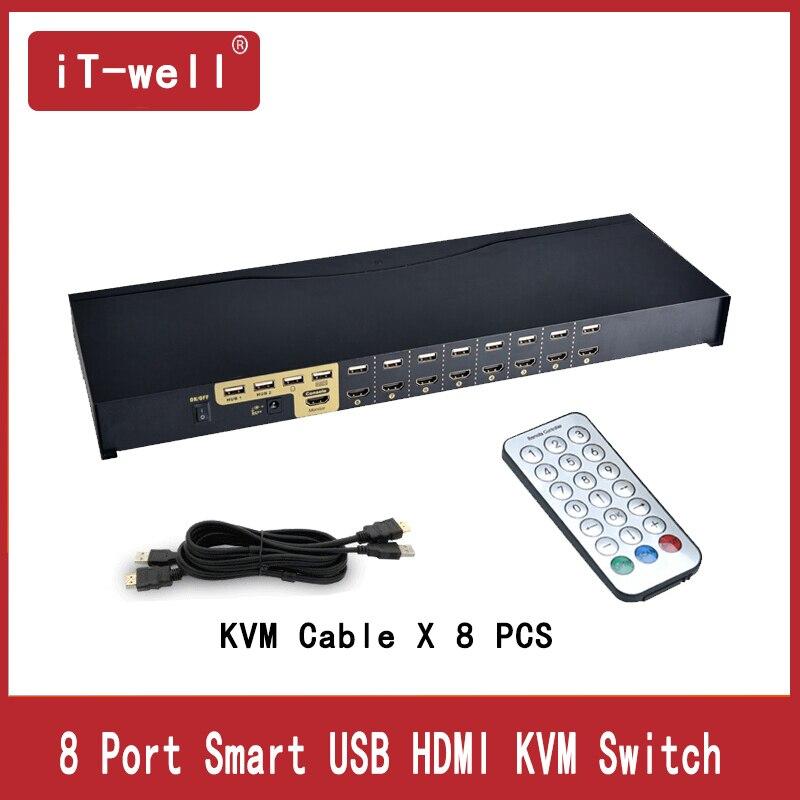 USB HDMI kvm переключатель 8 Порты и разъёмы автоматического сканирования 1080 P 3D, HDMI ПК коммутатора монитор клавиатура Мышь коммутатор для компью