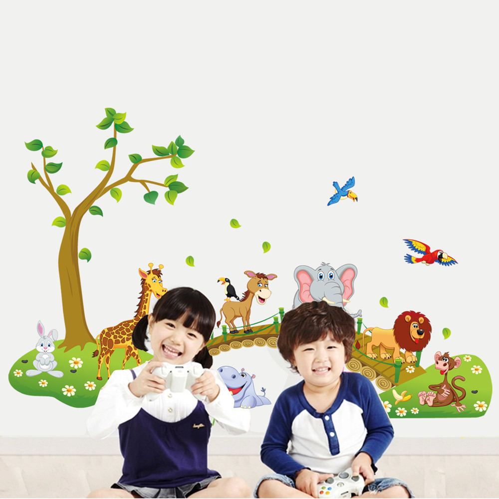 Creative 3d pattern cartoon jungle wild animal tree bridge flowers creative 3d pattern cartoon jungle wild animal tree bridge flowers wall stickers for kids room living room home decor zhh557 in wall stickers from home izmirmasajfo