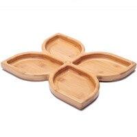 Creativo di Bambù Stoccaggio Vassoi per Dadi/Snack Eco Stile Pastorale Tavolo Organizzatore Fiore Forma 4 Reticolo Dessert Vassoi