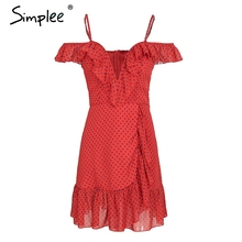 Simplee Strap v neck dot summer dress women Causal backless mini dress party 2018 Beach clothes vestidos navy blue dress spring