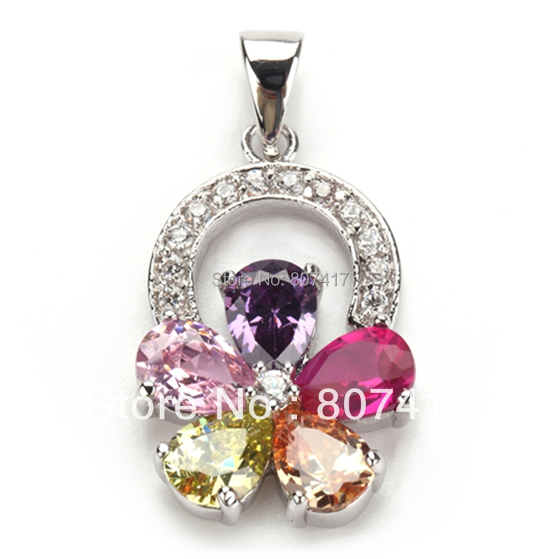 SHUNXUNZE Noble Women Panic buying Pink Purple Morganite Peridot Cubic Zirconia Silver Plated Flower Pendants R505 New Arrivals