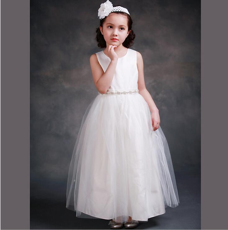 ФОТО Lovey Elegant Princess Flower Girl Dresses 2016 Sleeveless Tulle Pageant Dresses First Communion Dresses For Girls