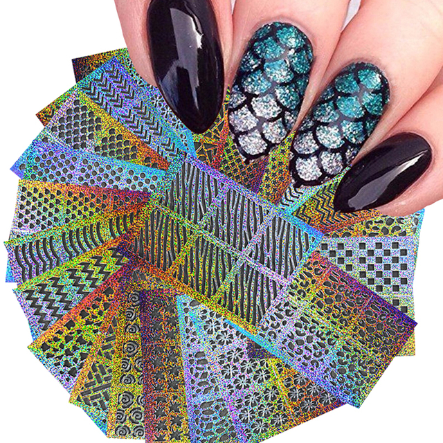 DIY Nail Vinyls Hollow Irregular Grid Stencils Stamp Nail Art Manicure Sticker Colorful Laser Silver Nail Stickers 24 Sheet/Set