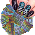 DIY Prego Vinis Oco Irregular Grade Stencils Carimbar Nail Art Manicure Etiqueta Colorida A Laser Prata Nail Stickers 24 Folhas/conjunto