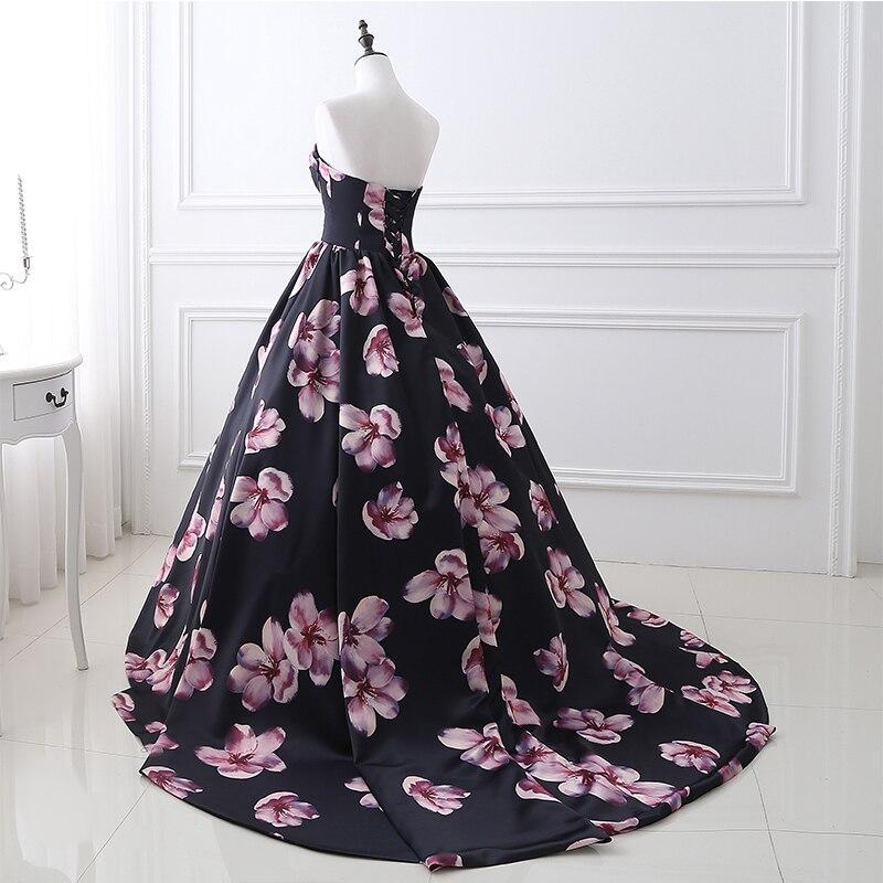 Em Estoque vestido de Noite Longo Vestidos Impresso Floral A Linha Querida Formal Prom Dress For Women Partido Robe De Soirée Foto Real - 3
