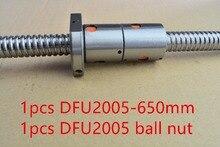 Диаметр 20 мм длина 650 мм плюс DFU2005 шариковый винт DFU2005 2005 двойной шариковая гайка с ЧПУ DIY Резьба машины 1 шт.