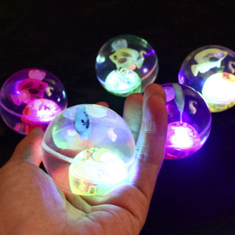 Flashing Luminous Ball Rubber Bouncing Ball LED Anti Stress Gift Fun Toys For Children Funny Without Rope Toy