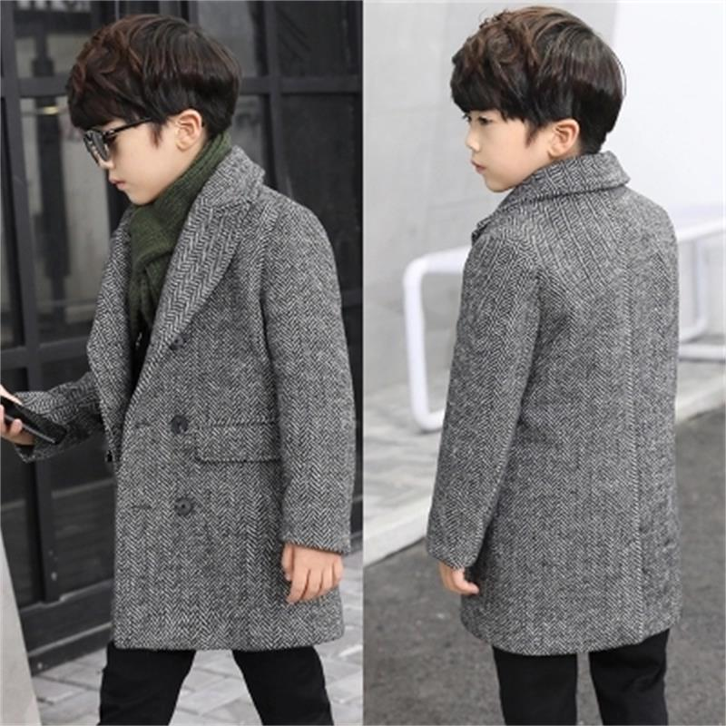 New 2018 Fashion Lattice High Quality Children Woolen Coat For Boys Hot Autumn Winter Fashion Buttons Kids Clothes Woolen Coat