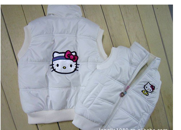 2012 children/kids/girls autumn and winter clothing vest vests outerwear coat coats Waistcoats cartoon kit-ty LJ 120621