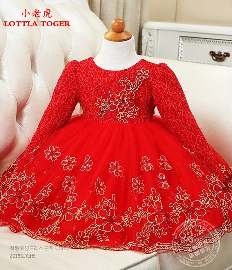 Style rétro automne et hiver fille robe rouge violet fleur fille robe de mariage or soie broderie côté enfant danse anniversaire dre
