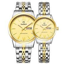Nuodun Mens Amantes De Acero Inoxidable Relojes de Primeras Marcas de Lujo de Las Mujeres de Moda Reloj de Cuarzo Con la Semana Del Calendario Impermeable Reloj de Pulsera
