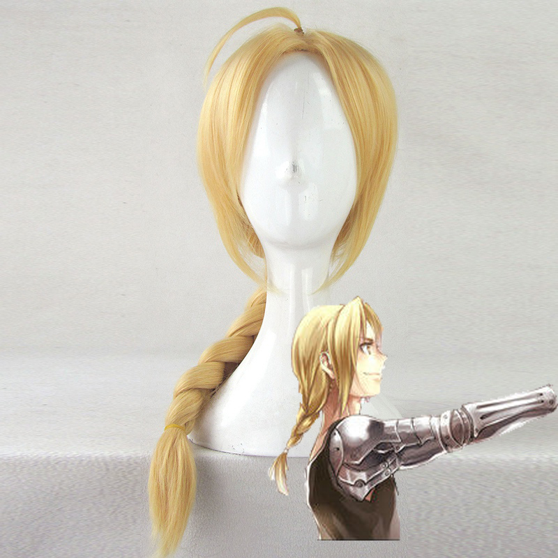 Fullmetal Alchemist Edward Elric 55cm Medium Long Straight Braid Styled Synthetic Cosplay Wigs Anime Costume Party Wig + Wig Cap