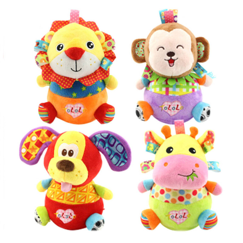Hot Sale Cute Animal Baby Toy Tumblers Baby Rattles & Mobiles Plush Sound Paper Soft Cartoon Tumblers 0-24 Month