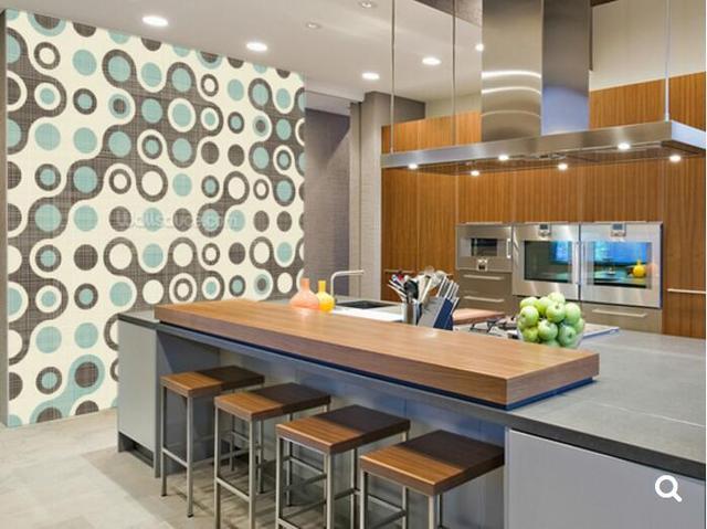 Benutzerdefinierte 3D Wallpaper, Blau Braun Retro Muster, Kreis Muster Für  Wohnzimmer Schlafzimmer Restaurant Hintergrund