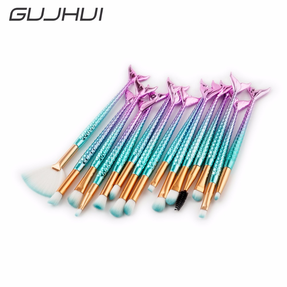 mermaid brush set Foundation Blending Powder Eyeshadow Contour Concealer Blush makeup brushes fish Make Up Tool Kits maquiagenm vic firth nova n2br