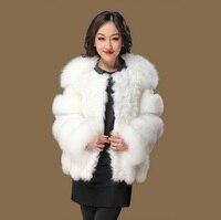 Новые поступления подлинной лиса пальто с мехом женщин роскошный мех лисы ягненка Меховая куртка из искусственного меха (флис зимняя куртк