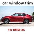 Venda quente de Aço Inoxidável Peitoril Guarnição Para BMW X6 Janela Do Carro Guarnição Decoração Do Carro Acessórios sem coluna