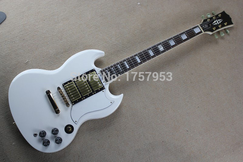 Free Shipping Factory Custom Shop 2017 new S G white CUSTOM Electric guitar with white pickguard 3 Pickups electric guitar 1 15