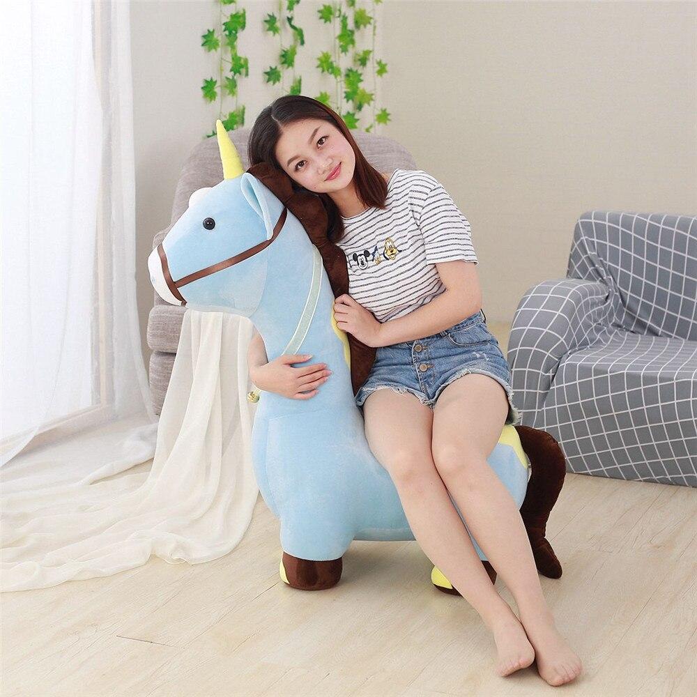 Fancytrader Soft Anime Einhorn Plüsch Sofa Spielzeug Große 120 cm Gestopft Cartoon fahrt auf Pferd Puppe Stuhl Könnte Laden 50 kg auf der Rückseite - 3