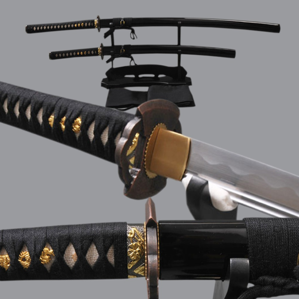 Completamente Hangmade Giapponese Samurai Swords Set Lama In Acciaio Al Carbonio Katana e di Alta Acciaio Al Carbonio Wakizashi Completa Tang Coltelli Affilati