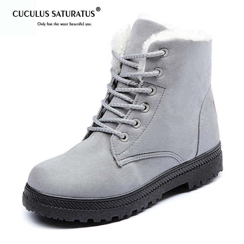 Cuculus Women Snow Boots Winter Women Shoes Botas Mujer Ankle Snow Boots Female Warm Fur Plush Insole Solid Platform Slip 1448 women boots keep warm women shoes winter warm fur snow boots plush round toe ankle boots winter platform botas mujer booties