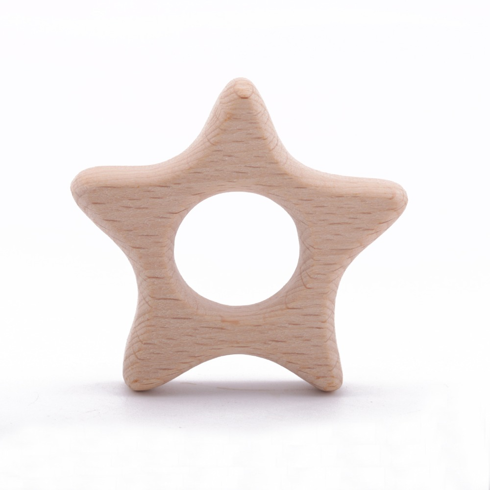 Wooden Teether Rings Handmade Toys Beech Wood Star Shape Safe Toddler Kids Teething Accessory Eco-friendly Toddler Teethers