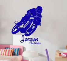 Free Shipping Boy Love Motor Bike Race Personal Name Bedroom Vinyl Stickers, Wall Art Decals