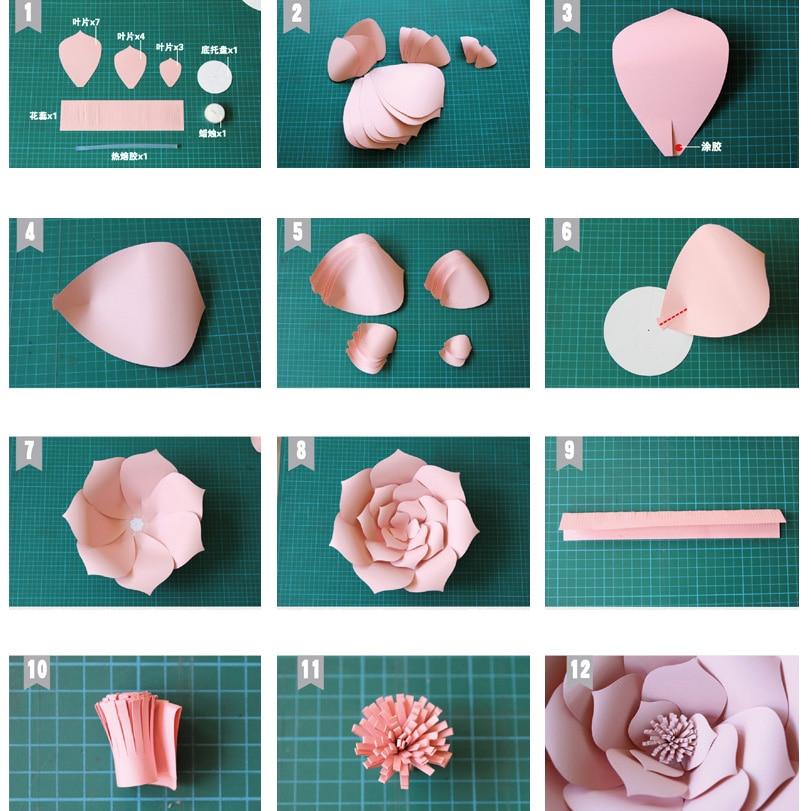 2pcs 20cm Paper Flower 6pcs Leaves Diy Plant Bedroom Wedding Festive