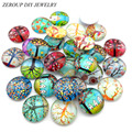Glass Cabochon 12mm Mixed Round Photo Cameo Cabochon Setting Supplies for Jewelry Accessories Handmade Pattern 50pcs