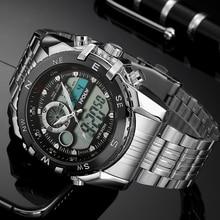 все цены на Luxury Gold Sports Wrist Watch Men's Military Waterproof Watches Fashion Silicone LED Digital Watch Men Wristwatches Clock Male онлайн