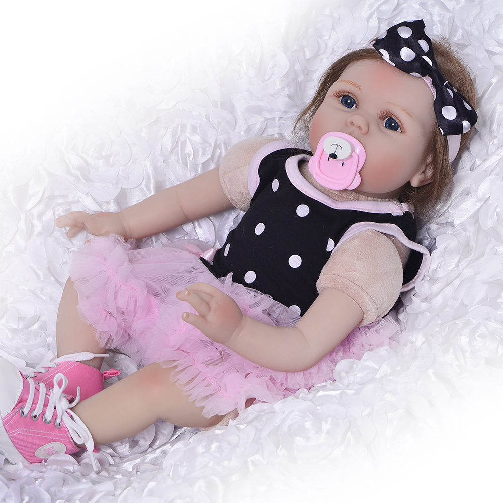 22 Inch Doll Reborn Silicone Vinyl Babies Doll For Girls 55 CM Realistic Soft Reborn Baby Doll For Kids Playmate decorative pillow christmas decoration decorative pillow