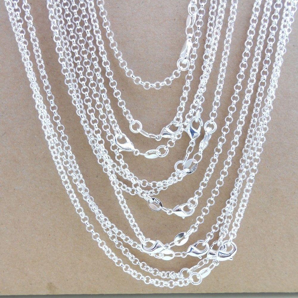 """Wholesale 5X Lot 16-30/"""" Jewelry Findings Rolo Argent Chaînes Collier Accessoires"""