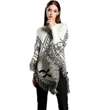 2019 Knitted Sweater New O-neck Loose Cape Fringed Shawl Geometric Figure Women Sueter Feminino Sweters Invierno