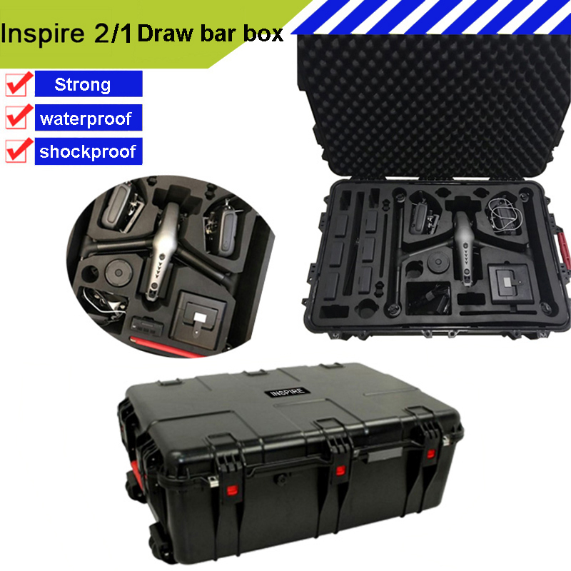 Waterproof DJI INSPIRE1/INSPIRE2 Protective Case High Quality Impact Resistant Pull Rod Box Protective Case Custom EVA Lining