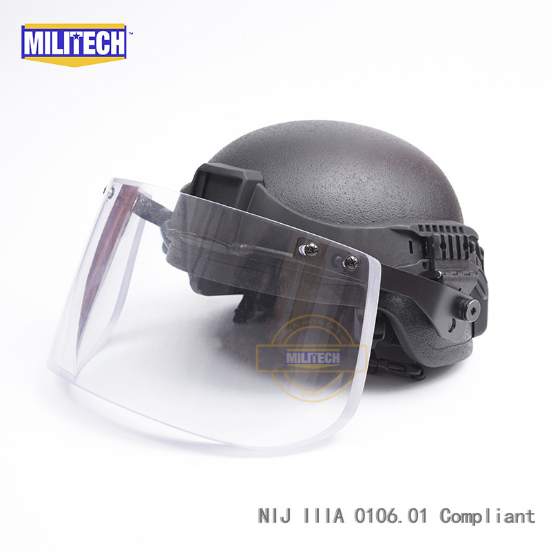 MILITECH BK ACH Mich Full Cut NIJ IIIA 3A Aramid Ballistic Bullet Proof Bulletproof Helmet With Tactical Visor Railband Set Deal леска sufix sfx цвет прозрачный 0 12 мм 100 м 1 2 кг