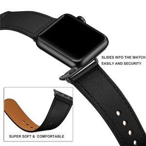 Image 4 - 블랙 정품 가죽 시계 밴드 스트랩 애플 시계 38mm 42mm , VIOTOO 가죽 루프 시계 스트랩 밴드 iwatch 40mm 44mm