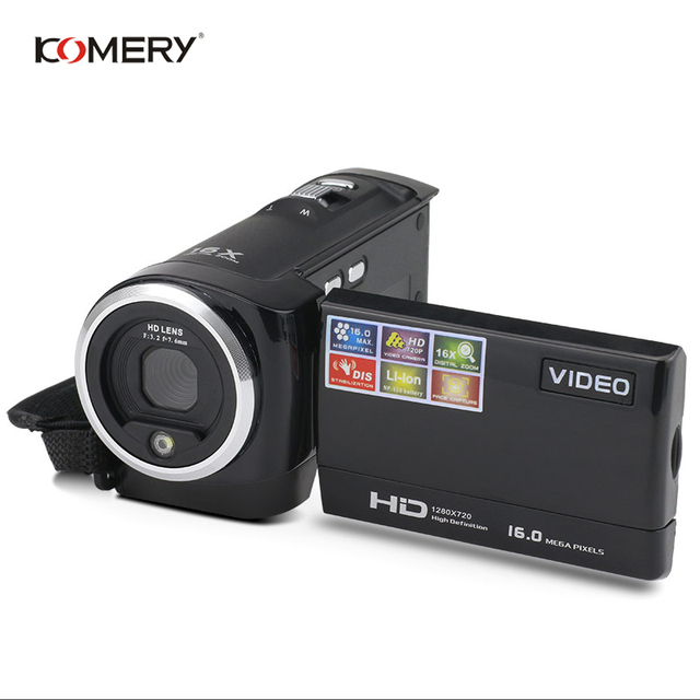KOMERY HD Video Camera 2.7 Inch LCD screen 16x Zoom Digital Anti-shake Mini Camcorder camara fotografica digital professional