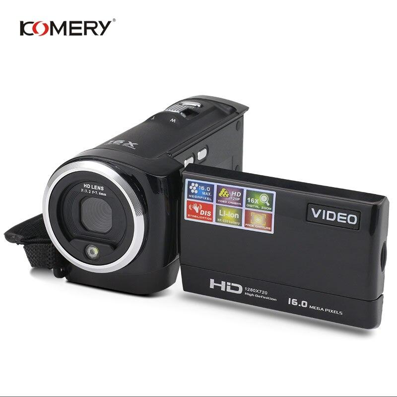 Caméra vidéo KOMERY HD 2.7 pouces écran LCD 16x Zoom numérique Anti-secousse Mini caméscope camara fotografica numérique professionnel