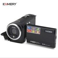 KOMERY HD видеокамера 2,7 дюймов ЖК-экран 16x зум цифровая анти-встряхивание мини видеокамера camara fotografica цифровая профессиональная