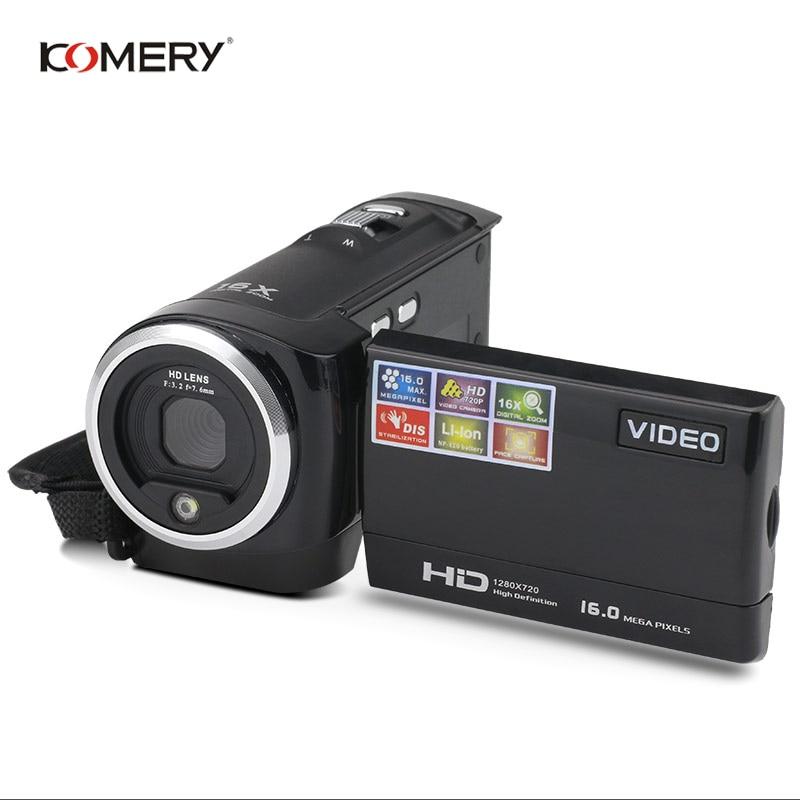 KOMERY HD Video Camera 2.7 Inch LCD screen 16x Zoom Digital Anti shake Mini Camcorder camara fotografica digital professional