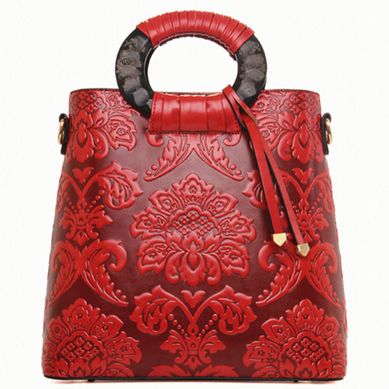 Chinese ethnic flavor vintage functional handbag tote classical embossing women shoulder bag fashion messenger crossbody bag fashionable women s tote bag with embossing and rivet design