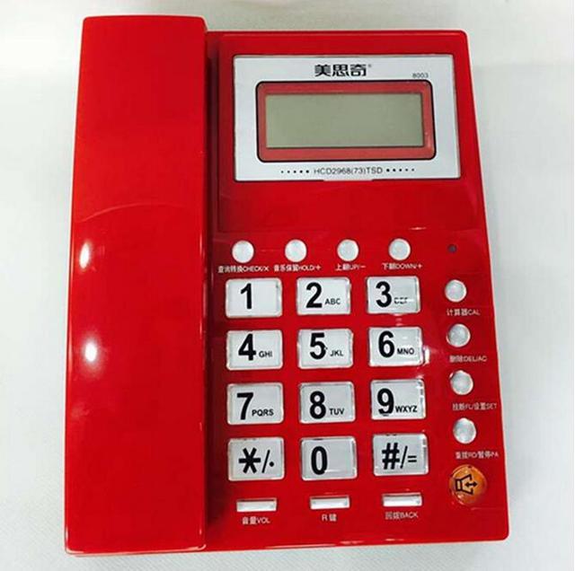 Высокая Мода Качество Caller ID Телефон Стационарных телефонов Без Батареи Для Домашнего Офиса Красный