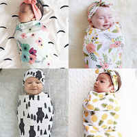Nouveau-né mode bébé Swaddle couverture bébé dormir Swaddle enveloppe en mousseline bandeau