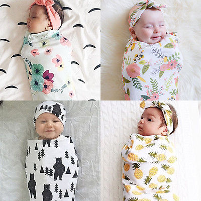 Newborn Fashion Baby Swaddle Blanket Baby Sleeping Swaddle Muslin Wrap Headband